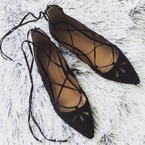 Atmosphere ø black suede pointed toe ballet flats